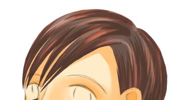 髪の光沢の合成モードをオーバーレイにする